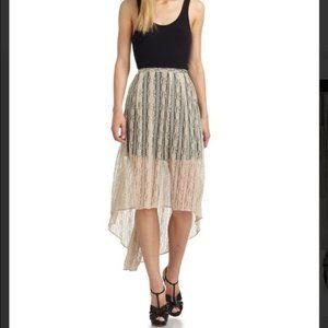 W118 WALTER BAKER beige allie lace hi low skirt